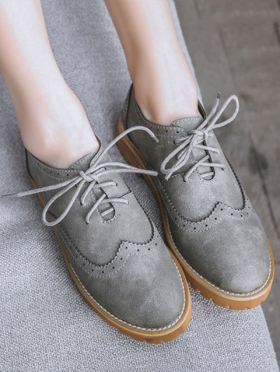 Wingtip Round Toe Tie Up Flat Shoes - GRAY 39 Mobile
