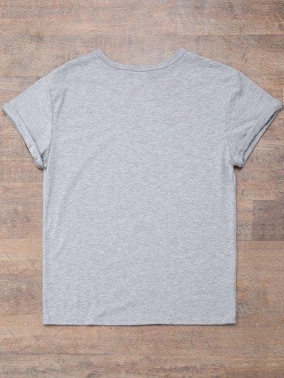 Short Sleeve Letter Print Boyfriend T-Shirt - GRAY 2XL Mobile