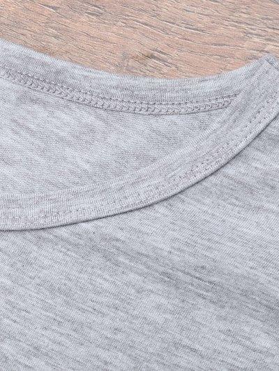 Short Sleeve Letter Print Boyfriend T-Shirt - GRAY XL Mobile