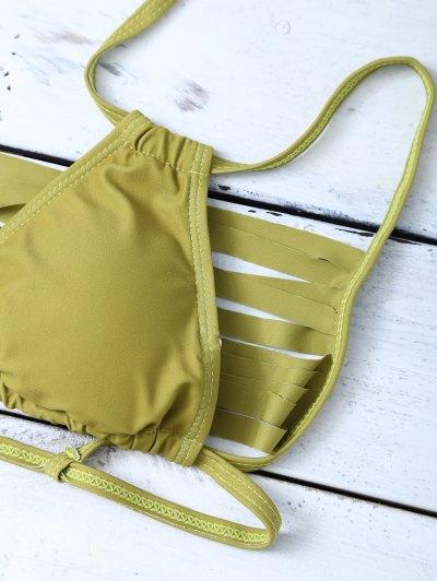 High Leg Strappy Cutout Bikini Set - GREEN S Mobile