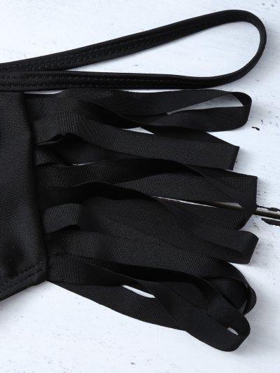 Cutout Strappy Bikini Set - BLACK XL Mobile