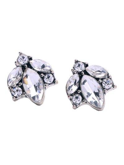 Tree Leaf Rhinestoned Earrings - WHITE  Mobile