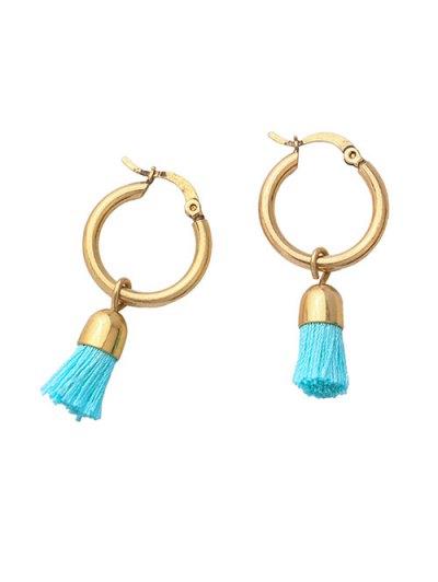 Vintage Tassel Circle Drop Earrings - BLUE  Mobile