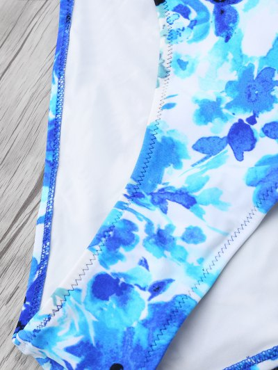Chinese Floral Painting Swimsuits Slip - BLUE L Mobile