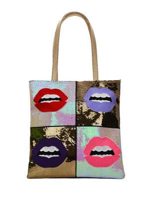 Color Block Sequins Lip Pattern Shoulder Bag - Golden