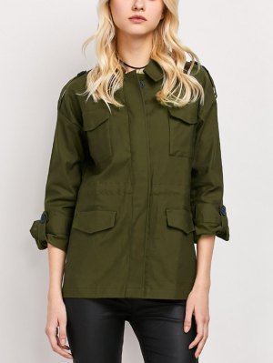 Pockets Turndown Collar Utility Jacket - Army Green