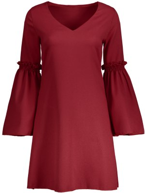 Flare Sleeve V Neck Shift Dress - Red