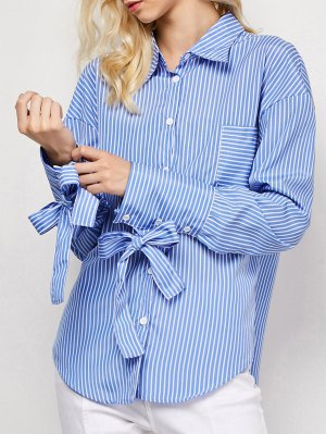 Striped O Ring Back Sleeve Tie Shirt - Blue And White