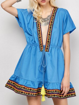 Embroidered Plunging Neckline Dress - Blue