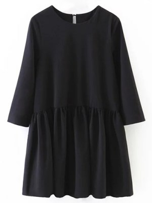 Flounce Ruffles Oversized Blouse - Black