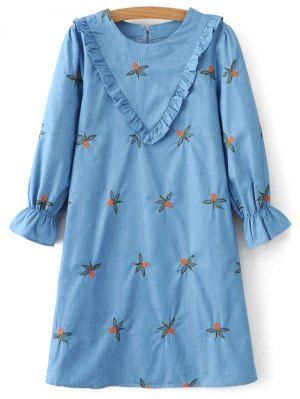 Frilled Chevron Pattern Tunic Dress - Blue