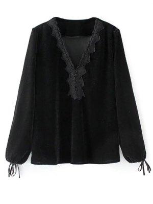Long Lantern Sleeve Velvet Blouse - Black