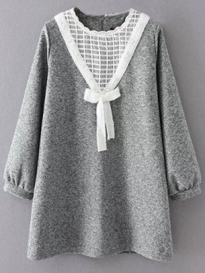 Knit Panel Trapeze Tweed Dress - Gray