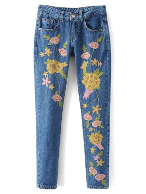 Flower Embroidered Straight Jeans - Denim Blue