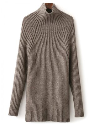 Tight Raglan Sleeve Ribbed Sweater - Khaki