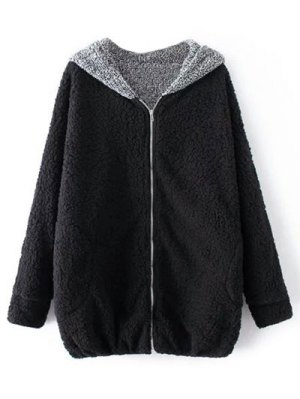 Cartoon Hooded Zipper Sherpa Coat - Black