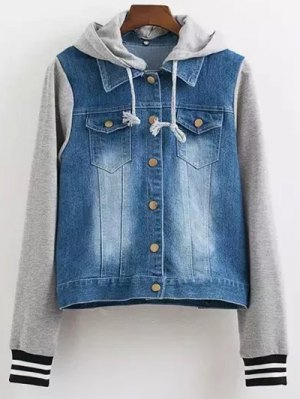 Hooded Buttoned Denim Jacket - Blue