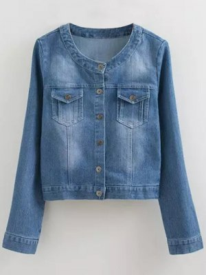 Round Neck Denim Jacket With Pockets - Denim Blue