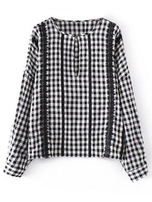 Checked Lacework Blouse - Plaid