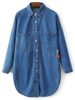 Pocket Cartoon Patch Jean Shirt - Denim Blue