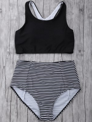 Striped High Waisted Bikini Set - Black