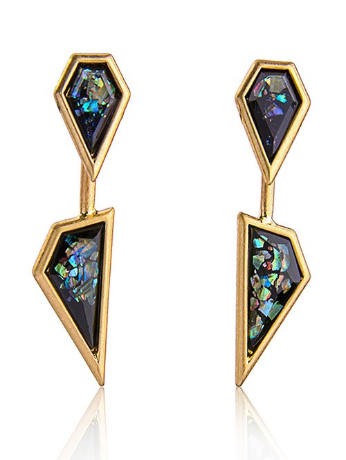 Artificial Gem Geometric Drop Earrings
