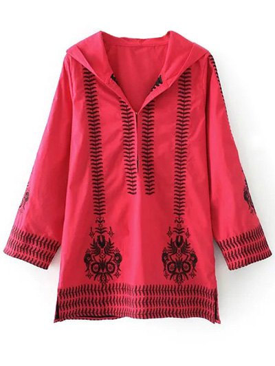 Embroidered Hooded Tunic Dress