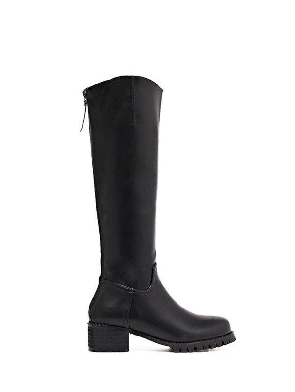 PU Leather Zipper Knee High Boots