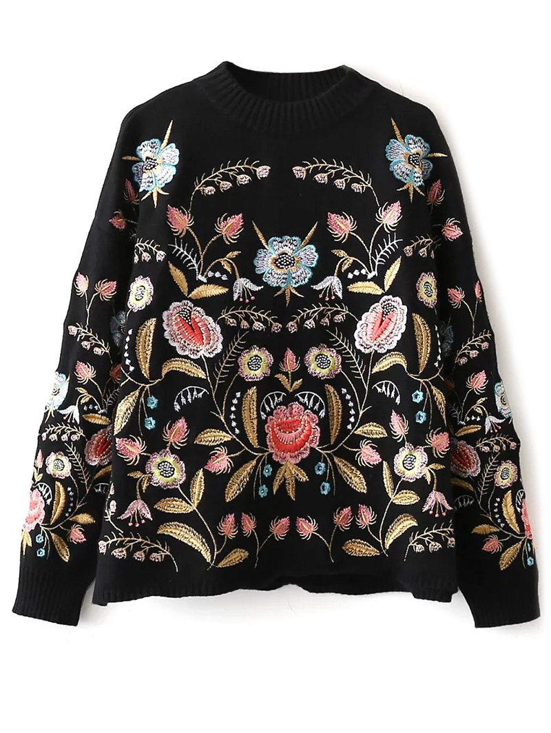 Floral Embroidered SweaterClothes<br><br><br>Size: ONE SIZE<br>Color: BLACK