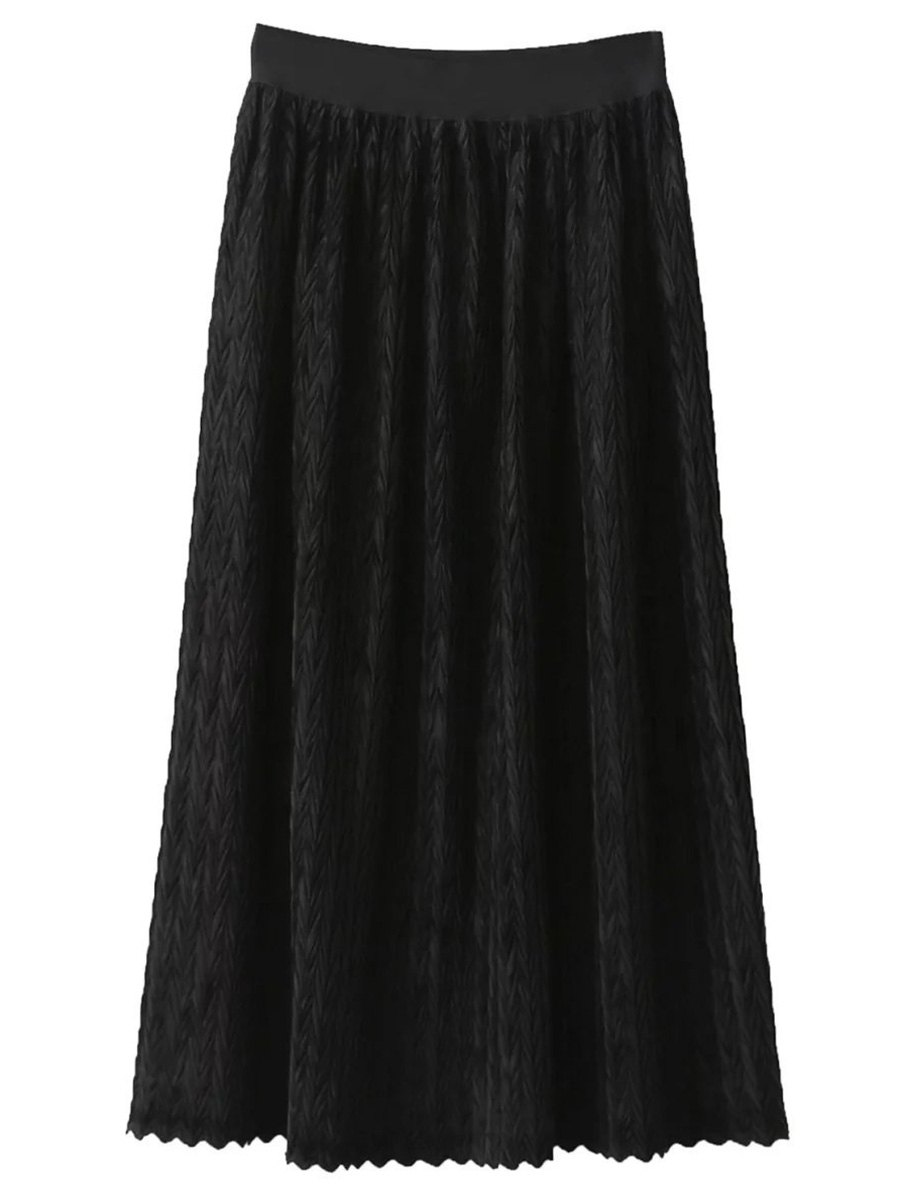 Maxi Pleated SkirtClothes<br><br><br>Size: ONE SIZE<br>Color: BLACK