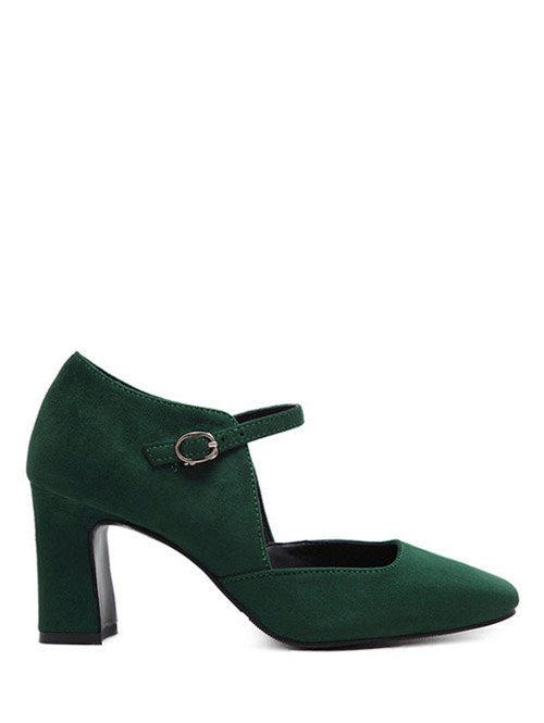 Flock Block Heel Square Toe Pumps