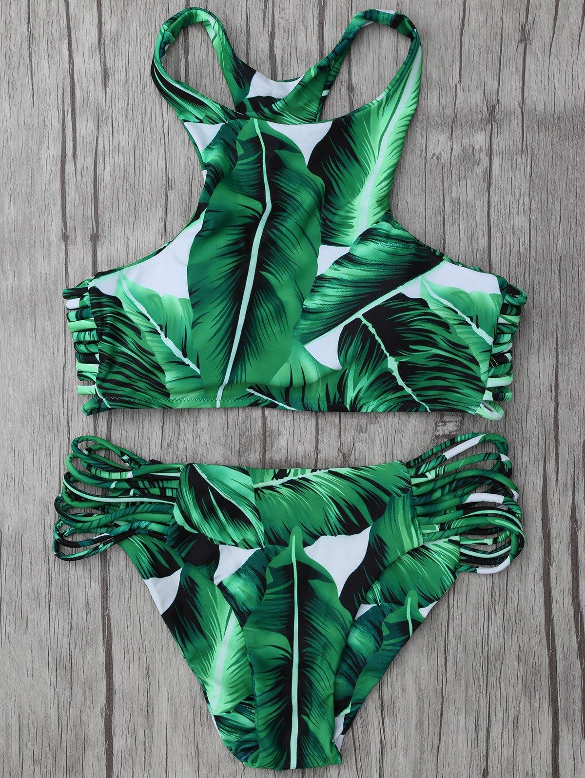 High Neck Leaf Print Stringy Bikini Set