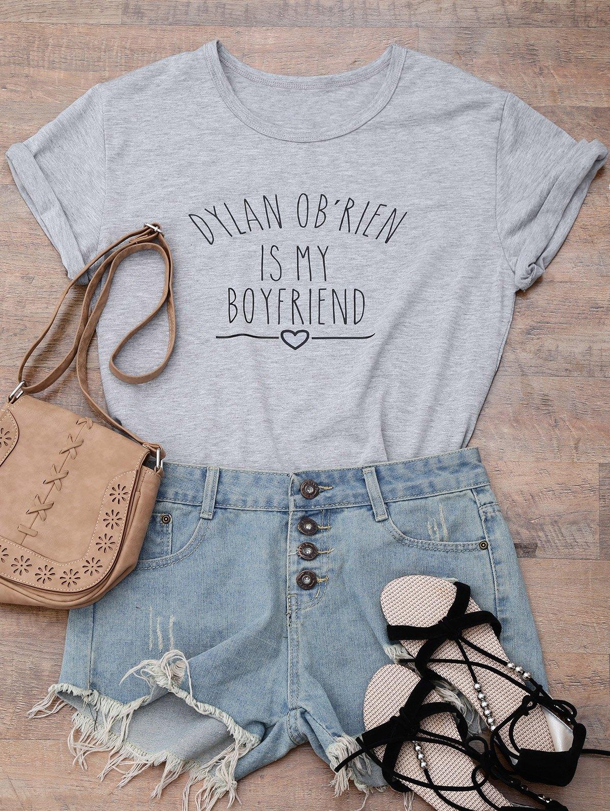 Streetwear Short Sleeve Letter Print Boyfriend T-Shirt