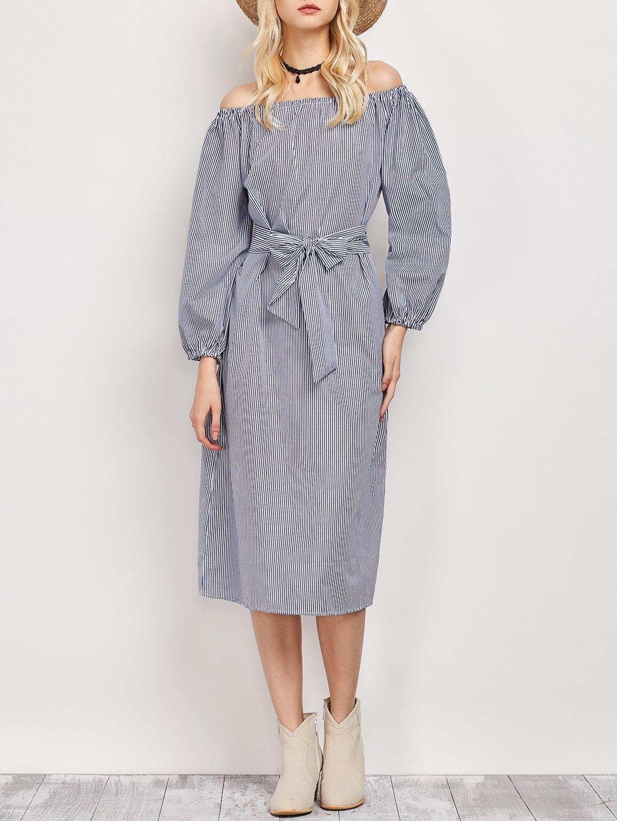 Off The Shoulder Belted Midi Dress