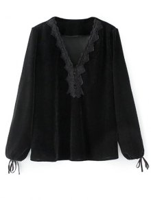 Long Lantern Sleeve Velvet Blouse