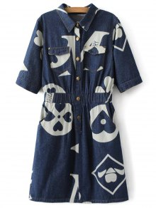 Denim Printed Shirt Dress