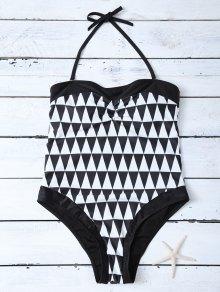 High Waisted Geometric One-Piece Swimwear