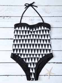 High Waisted Geometric One-Piece Swimwear
