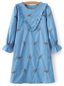 Frilled Chevron Pattern Tunic Dress - Blue S