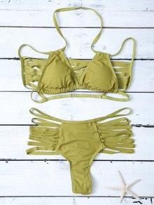 High Leg Strappy Cutout Bikini Set - Green L
