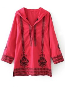 Totem Embroidered Hooded Tunic Dress