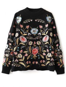 Floral Embroidered Sweater - Black