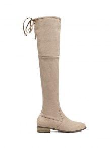 Buy Flat Heel Zip Tie Thigh Boots 37 APRICOT