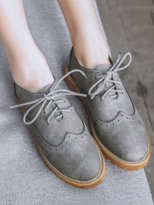 Wingtip Round Toe Tie Up Flat Shoes - Gray
