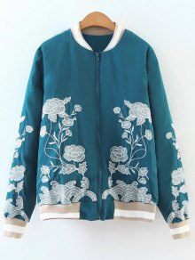 Zipper Floral Embroidered Bomber Jacket