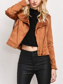 Fringe Asymetrical Suede Jacket - Brown M
