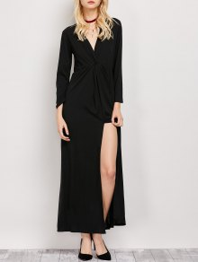 Long Sleeve Maxi Plunge Dress with Slit