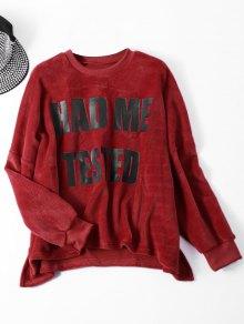 Velvet Letter Wool Blend Sweatshirt