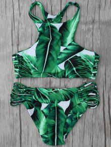 Leaf Print High Neck String Bikini Set - Green M