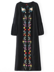 Buy Floral Embroidered Tunic Midi Dress - BLACK S